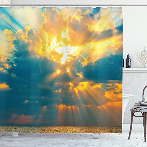 """Ambesonne Landscape Shower Curtain, Majestic Yellow Rays of Sun Breaking Through The Storm Image of Clouds Picturesque Artwork, Cloth Fabric Bathroom Decor Set with Hooks, 70"""" Long, Turquoise Yellow"""