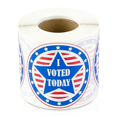 I Voted Today 2' Round with Red, White, and Blue Circle Stickers Labels (300 Labels per roll / 1 roll)
