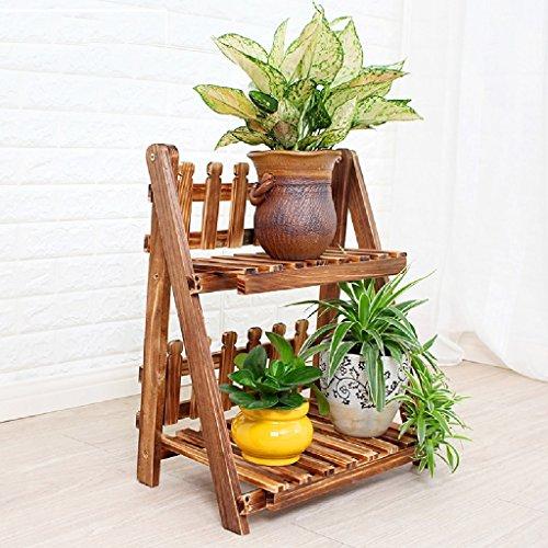 Poteau en bois Folding Flower Stand Étagère de sol Flowerpot Terrasse Balcon Salon Bonsai Cadre 2 Flower Stand L * W * H: 50 * 25 * 55CM