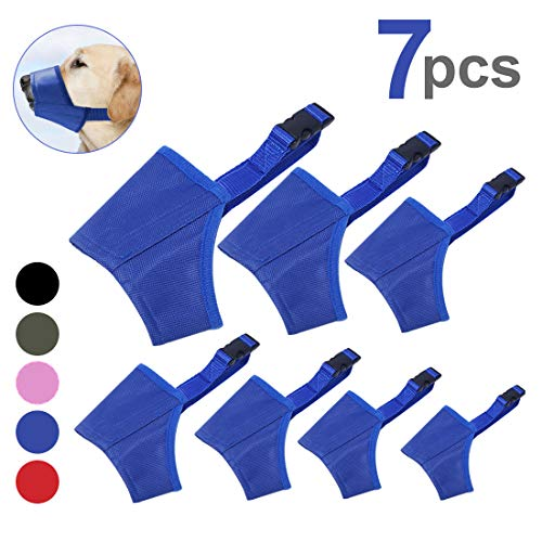Coppthinktu Dog Muzzle Suit, 7PCS Dog Muzzles for Biting Barking Chewing, Adjustable Dog Mouth Cover for Small Medium Large Dog, Soft Comfortable Dog Muzzle for Long Snout