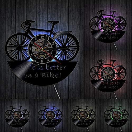 Reloj de pared de vinilo retro para motociclistas, diseño de la vida es mejor en una bici