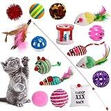 Dorakitten 16 Stück Katzenspielzeug Set mit Katzenspielzeug Set mit Bälle Federspielzeug Plüschspielzeug Spielzeugmäuse Katzen Spielzeug Variety Pack für Katzen Kitty