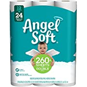 Angel Soft Toilet Paper Bath Tissue, 12 Double Rolls, 260+ 2-Ply Sheets Per Roll