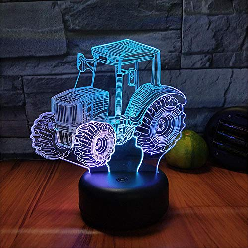 LBJZD 3D Night Light 7 Colors Tractor Led 3D Night Light Touch USB Desk Table Lamp for Boys Xmas Gift Bedroom Home Decoration Black Base with Remote Control