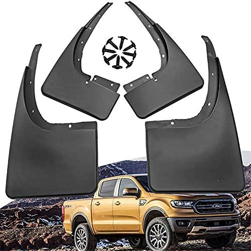 Coche Guardabarros Delanteros y Traseros Aletas Barro Mud Guardia Flap para Ford Ranger 2011-2019 Dedicado Faldillas Antibarro Fender Splash Guard Proteccion Juego Auto Accesorios,4 Piezas