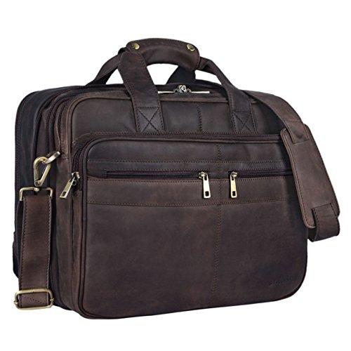 STILORD 'Alexander' Borsa da lavoro in pelle uomo donna Grande borsa porta documenti e PC Ventiquattrore da ufficio Cartella per la scuola borsa a tracolla, Colore:marrone scuro - pallido