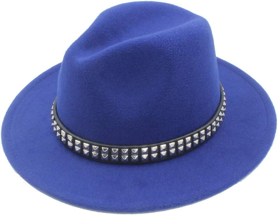HXGAZXJQ Men Women Wool Fedora Hat Dance Party Hat Casual Wild Church Hat Pop Panama Jazz Hat Size 56-58CM (Color : Blue, Size : 56-58)
