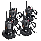 eSynic 4 pcs Rechargeable Walkie Talkies with Earpieces Long Range Two-Way Radio 16 Channel with Flashlight walky Talky Handheld Transceiver USB Charging Included (Renewed)