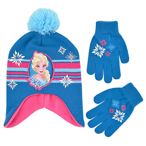 Disney Little Girl Winter Hat Set, Frozen Elsa and Anna Kids Beanie and Glove, for Ages, Blue/Pink, Age 4-7