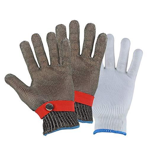 Schnittfeste Handschuhe 2 Stück Edelstahl 316L Schnittbeständiger Handschuh Anti-Schnitthandschuh Metzgerhandschuhe Zum Schutz Sicherheitshandschuhe, 6 Größen (Size : Medium)