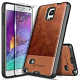 NZND Case for Samsung Galaxy Note 4 with Tempered Glass Screen Protector, Premium Cowhide Leather Hybrid Defender Protective Shockproof Rugged Durable Case -Brown