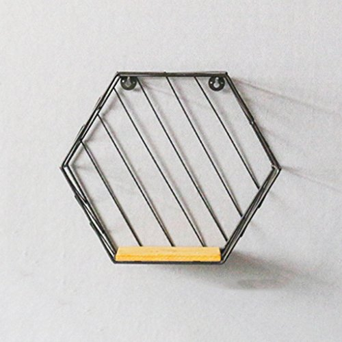 JPVGIA Estante Hexagonal Negro de la Pared del Hierro labrado - Estante de la Pared de la decoración de la Sala de Estar de Madera sólida no Perforada - 26 * 30 * 12cm (Color : #1)