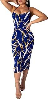 Womens Sexy Sleeveless Spaghetti Strap Letter Chain Print Hollow Backless Bodycon Pencil Club Midi Long Dress