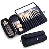 Portable Makeup Brush Organizer Makeup Brush Holder for Travel Can Hold 20+ Brushes Cosmetic Bag Makeup Brush Roll Up Case Pouch for Woman.