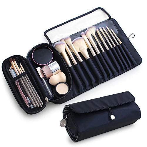 Portable Makeup Brush Organizer Makeup Brush Holder for Travel Can Hold 20+ Brushes Cosmetic Bag Makeup Brush Roll Up Case Pouch for Woman(Only Bag)
