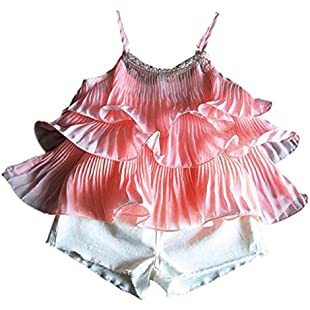 Kingko® Age 1-6 Years old Kids T-shirt Vest Tops Baby Girls Chiffon Pearl Vest Shirt+Short Pants Outfits Clothes 1 Set (3-4 Years)