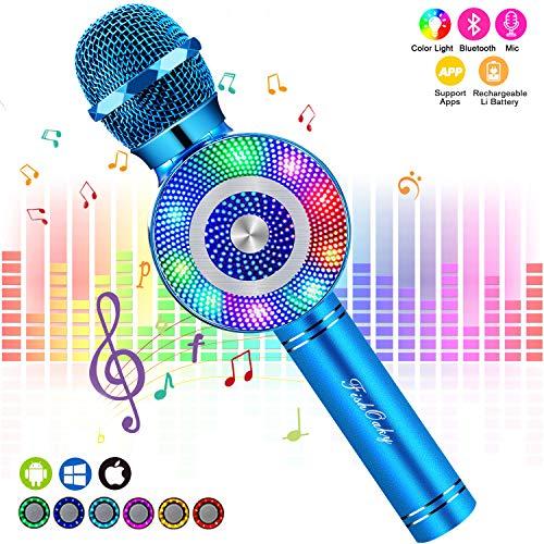 Micrófono Karaoke Bluetooth, FISHOAKY Microfono Inalámbrico Altavoces, Portátil Karaoke para Niños Cantar, Función de Eco, Compatible con Android/iOS o Teléfono Inteligente(azul)