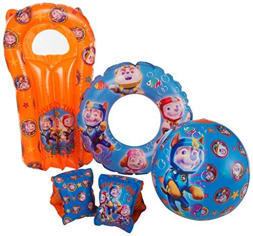 Paw Patrol Boys Blue Kids Inflatable Arm bands / Swim Ring / Beach Ball / Lilo Air Mattress - Swimming Pool Beach Floats Set – Chase / Marshall / Rubble – Holiday Children Fun