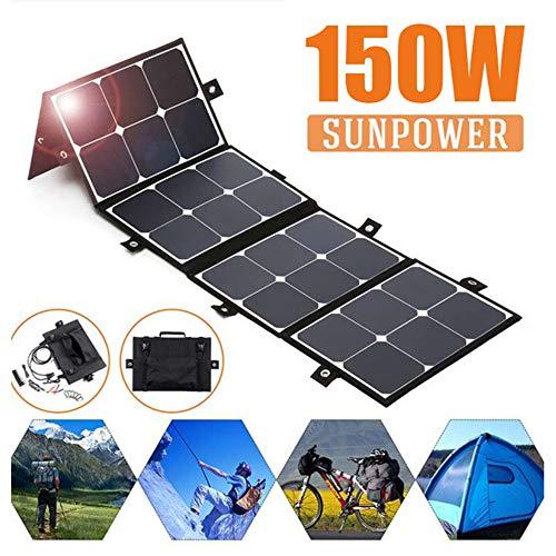 TOPQSC 150W Faltbare Sonnenkollektor-Ausrüstungen, Flexibel SolarModul mit Wasserdichtem Tuch des Solarfaltbeutels im Freien, für Laptop-Handy RV-Boots-Kampieren