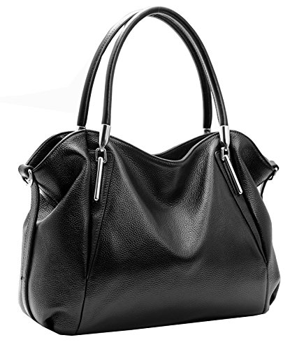 Heshe Women's Leather Handbag Shoulder Bags Work Tote Bag Top Handle Bag Ladies Designer Purses Satchel (Black)
