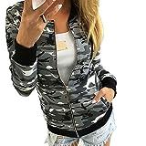 Minetom Damen Reißverschluss Camouflage Jacken Mantel Herbst Winter Straße Kurze Jacke Outwear Women Casual Jackets Grau DE 34