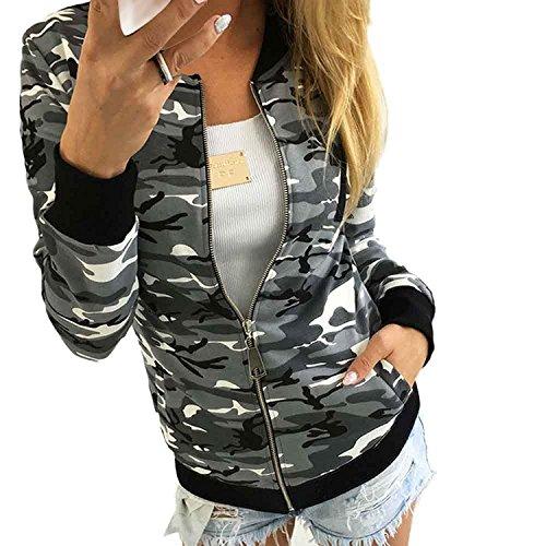 Minetom Damen Reißverschluss Camouflage Jacken Mantel Herbst Winter Straße Kurze Jacke Outwear Women Casual Jackets Grau DE 38