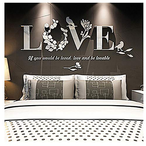 Wociaosmd Wall Sticker, Removable 3D Leaf Love Mirror Wall Sticker Art Vinyl Decals Bedroom Decor (White)