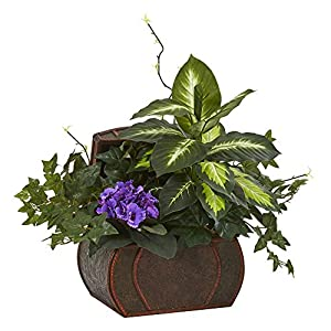 Nearly Natural African Violet & Mix Greens Decorative Chest Artificial Plant, Purple