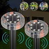 OVAREO Solar Maulwurfabwehr, 2 Stück/Set Warmweißlicht 8LED Chip Ultrasonic Solar Maulwurfschreck, Maulwurfbekämpfung, Wühlmausschreck, Mole Repellent, Schädlingsbekämpfung mit IP56 für Den Garten