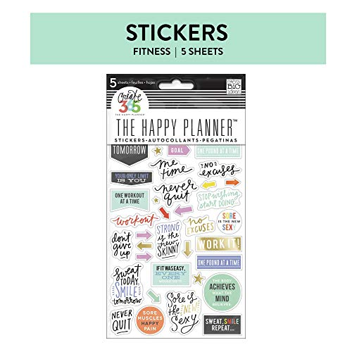 me & my BIG ideas Themed Stickers - The Happy Planner Scrapbooking Supplies - Fitness Theme - Multi-Color - Perfect for Scrapbooking & Paper Crafts - 5 Sheets