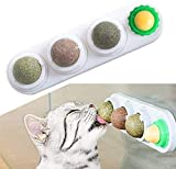 Bolas de Hierba Gatera, 4 EN 1 Juguetes con Hierba Gatera Juguetes de Gato Interactivos Rotatorios de Hoja de Menta Natural Pura, Juguetes de Eliminación de Gatos, Juguete de Limpieza de Dientes