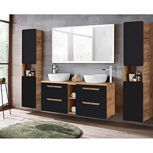 Lomadox Badmöbel Komplett Set in seidenmatt anthrazit mit Wotaneiche, 140cm Waschtisch-Unterschrank mit 2 Keramik-Waschbecken, 140cm LED-Spiegel, 2 Hochschränke
