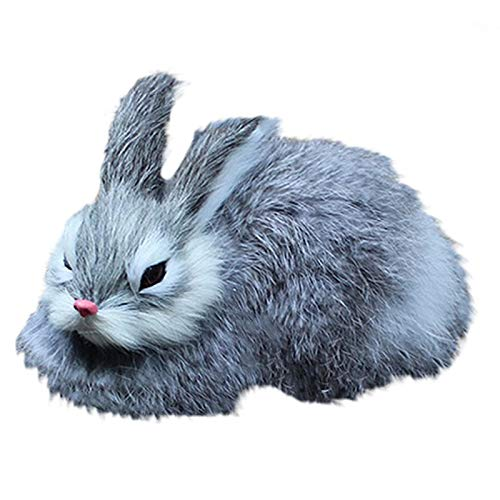 WOVELOT 15Cm Realistici Simpatici Conigli di Peluche Realistici Animali Coniglietto di Pasqua Simulazione Coniglio Giocattolo Modello Regalo di Compleanno (Grigio)