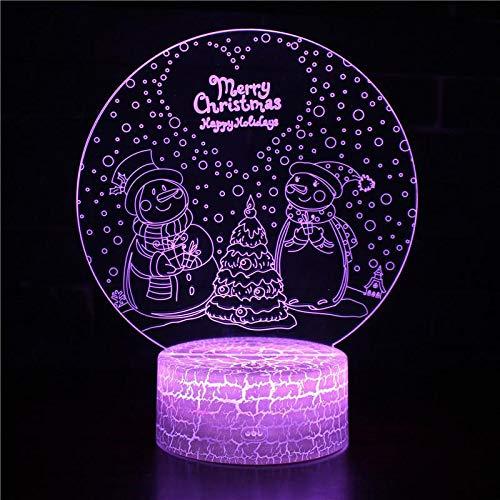 3D Nachtlicht Dekoration Weihnachtsmann Weihnachtsbaum Winter Mond Schneemann Hirsch Elch Cartoon Nette Tischlampe Geburtstagsgeschenk Kinder Geschenk