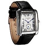 Reloj cuadrado para hombre, reloj de pulsera de cuero vintage, números romanos analógicos de cuarzo, correa de piel, reloj retro clásico con ventana de calendario automático