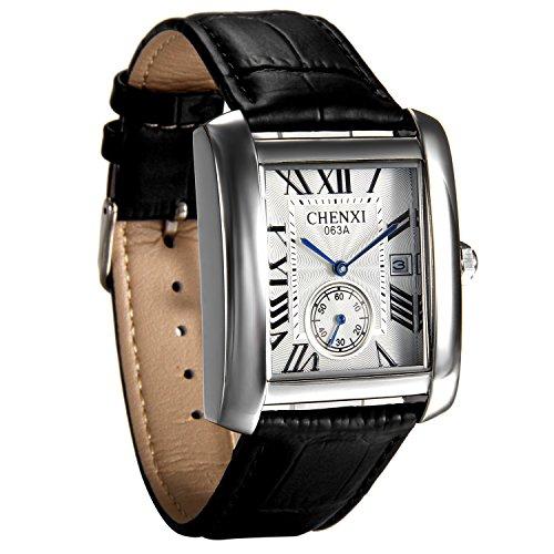 Avaner Herren Uhr Analog Japanisches Quarzwerk mit Leder Armband Casual römische Ziffern Schwarz Avaner01P