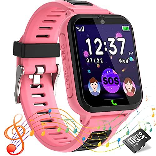 Smartwatch per Bambini,Orologio Telefono per Ragazzo e Ragazza Touchscreen con Allarme SOS, Lettore Musicale,14 Gioco Puzzle, Torcia, Sveglia, Orologio Intelligente per Bambini 4-12 Anni Regalo rosa