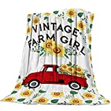 Flannel Throw Blanket Cozy Plush Soft Cover for Sofa Chair Bed Travel All Season Microfleece Gift Blanket,Rustic Red Truck Sunflower Vintage Farmhouse Style (40 x 50 Inches)