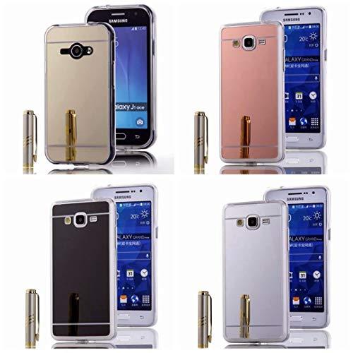 Handy Lux Schutz Hülle Spiegel Cover Mirror Luxus Case Glänzend Silikon Tasche für Samsung Galaxy S6, Silber