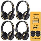 SIMOLIO 4 Pack of Wireless DVD Headphones with Hard EVA Cases,Car Kid IR Headphones,Infrared Wireless Headphones for Headrest Car Video,On-Ear Car Headset 2 Channel, Not Work on 2017+ GM's or Pacifica