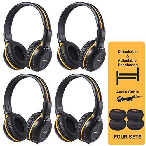 SIMOLIO 4 Pack of Wireless DVD Headphones with Hard EVA Cases,Car Kid...