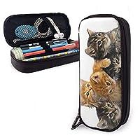 ペンケース 筆箱 家族の猫 軽量 多機能 大容量 Pu 革 鉛筆のサック 鉛筆ケース ペン袋 文具収納 文房具 中学生 高校生 通勤・通学用 メンズ レディース