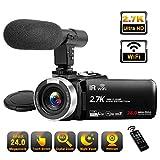 Camescope 2,7K Full HD Caméscope Caméscope avec Microphone 30FPS WiFi IR Caméra de Vision Nocturne Caméra 24MP 16X Zoom numérique 3 Pouces LCD Caméscope à écran Tactile