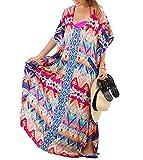 Caftan para la Playa Largo Bohemio Hippie Chic Vestido Estampado Floral Mujer Tunica Piscina Kaftan Etnico Kimono Dress Vestidos Maxi Verano Ropa de Baño Talla Grande Camisolas y Pareos Bikini Coverup