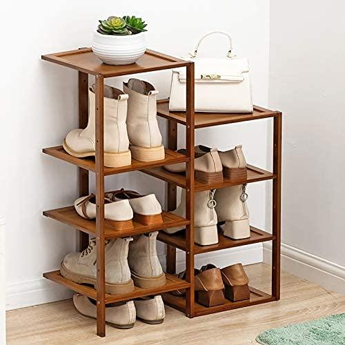 HHTX Estante para Almacenamiento de Zapatos de bambú de Doble Fila, 8 Niveles, Torre de Zapatos apilable Independiente para 8 Pares de Zapatos, para Entrada, Dormitorio, marrón 52x25x55cm (20x10x