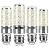 Bombilla LED tipo maíz 12W E27 Bombillas LED de tornillo Edison, equivalente incandescente de 120W, lámpara LED tipo candelabro 1320LM, 110 V CA / 230 V, ahorro de energía, sin parpadeo (paquete de 4)