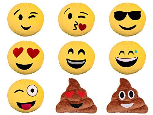 TrendandStylez Emoticon Emoji-Con Lach Smiley Kissen Dekokissen Stuhlkissen Sitzkissen gelb rund (Träne - 10)