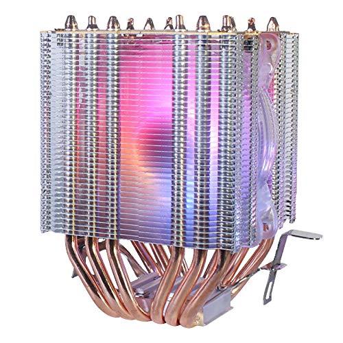ROSELI 6 Tubo de Cobre CPU Radiador Chasis Ventilador IluminacióN SíNcrona 1150 AMD1366 Ventilador de RefrigeracióN de CPU 2011 Luz Cristalina Ventilador Individual