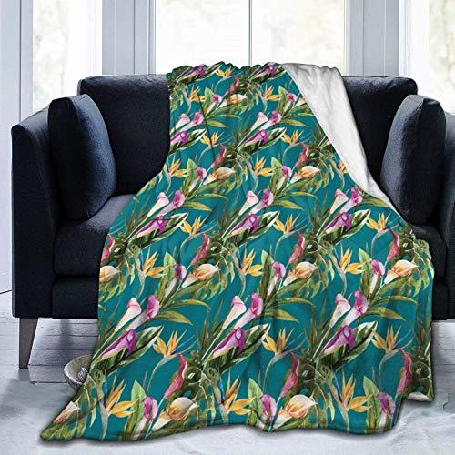 Manta de forro polar ultrasuave para adultos, manta de forro polar, hojas exóticas, plantación hawaiana, suave y cómoda, manta de sofá de 80 x 60 pulgadas