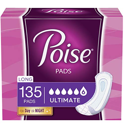 Poise Incontinence Pads for Women, Ultimate Absorbency, Long, Original...